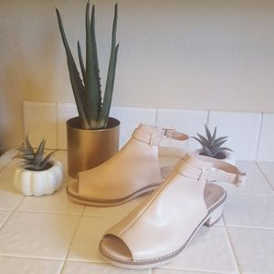 Topshop open toe nude backless ankle strap mule